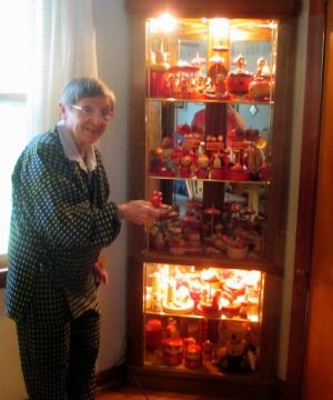 Janell showing off a small portion of her top collection in October 2013.