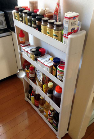 This spice rack is amazing and actually meant to slide into the gap between your counter and your fridge.