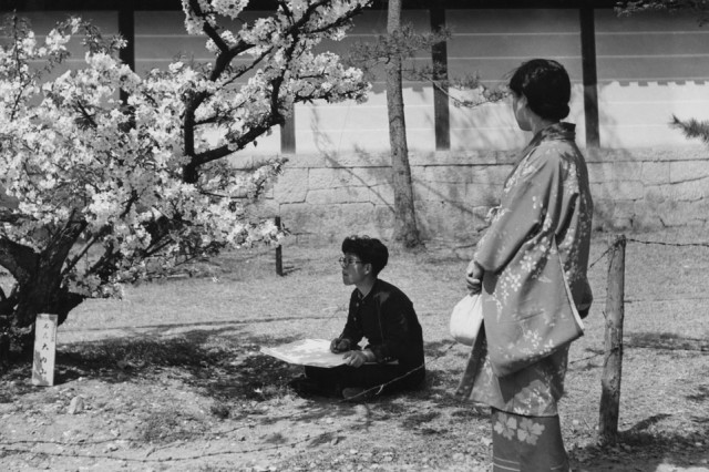 A woman sitting under a cherry tree sketches blossoms as another woman in a kimono looks on in Japan in 1955. GETTY IMAGES